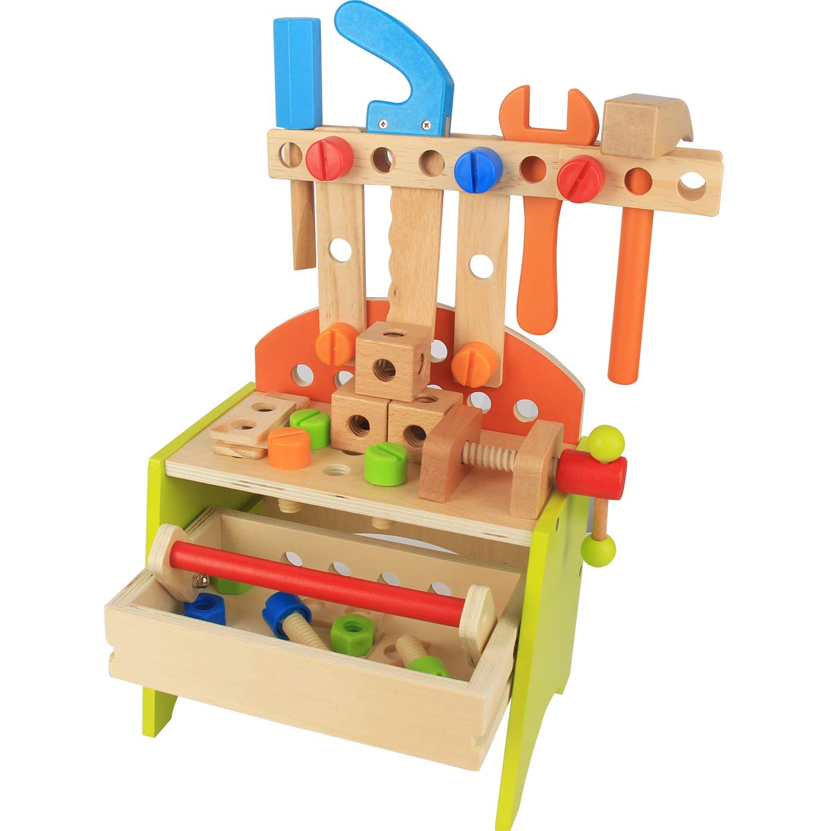 Wooden Power Tool Workshop for Toddlers Building Tools Sets Pretend Play Toys