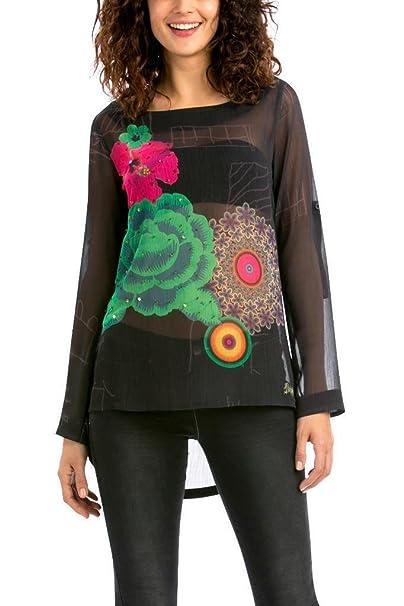 Desigual Blusa, Negro Morado y verde Floral gasa Sheyla