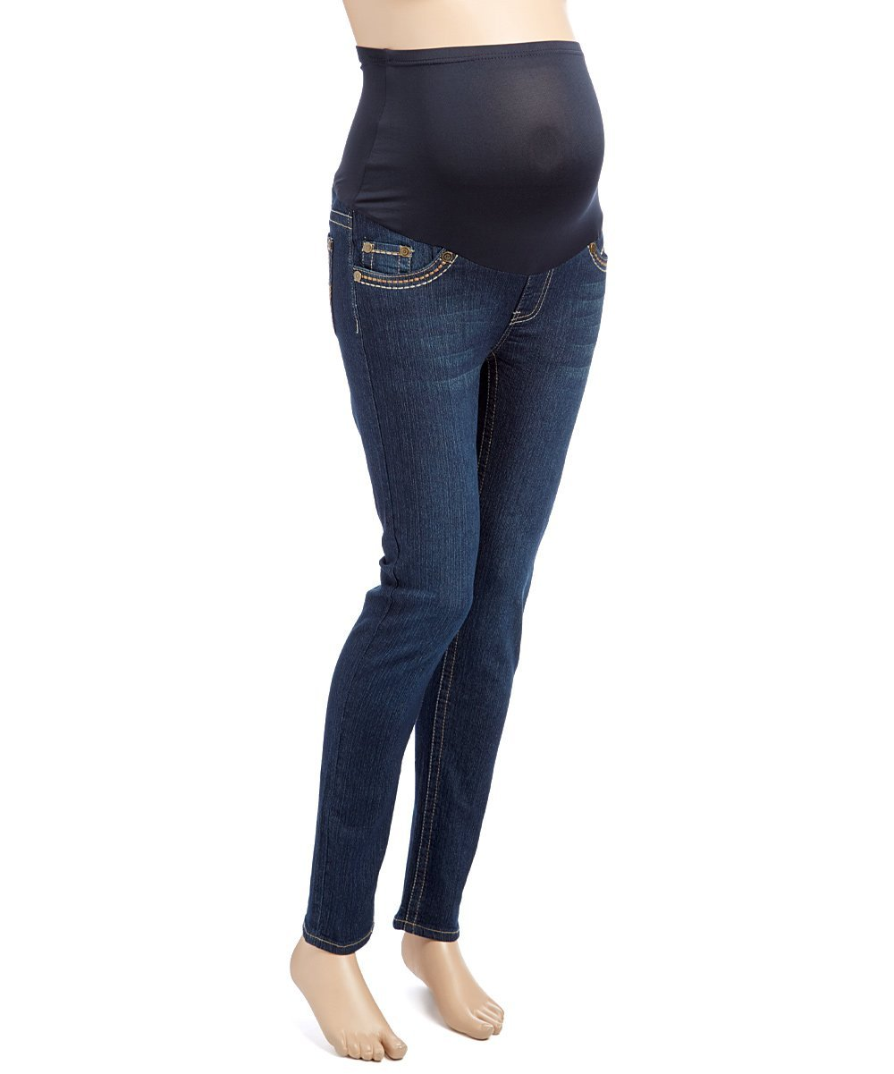 RUMOR HAS IT Maternity Embroidered Over The Belly Straight Jeans (Medium, Dark)