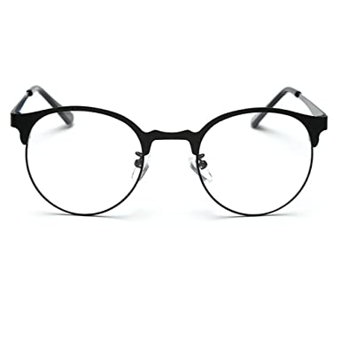 tijn new round metal non prescription glasses frame with clear lens