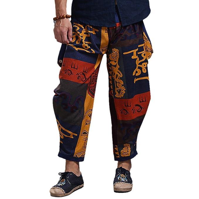 Z Pantalones De Harem De Algodón Holgados del Hippie De Los Hombres del Boho