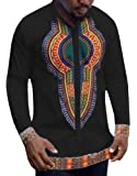 Dellytop Men's Long Sleeve African Printed Button Down Shirt Tops