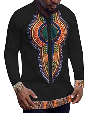 Dellytop Men's Long Sleeve African Printed Button Down Shirt Tops ...