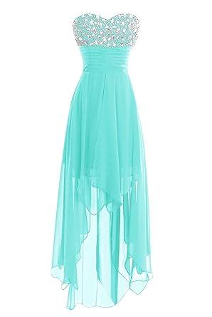 4d9e82087c Women Long Chiffon High Low Bridesmaid Prom Gown Cocktail Party Dress Aqua  US2