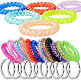 Fashion & Lifestyle 20PCS Flexible Wristlet Keychain Wrist Coil with Key Holder Ring Chain ID Badge Tag Wristband Bracelet Band - Multipurpose Hair Ties Ponytail Holders