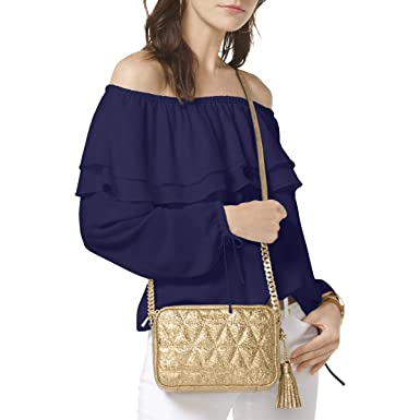 62da0af8f9e8f Image Unavailable. Image not available for. Color  Michael Michael Kors  Womens Off-The-Shoulder Flounce Peasant Top ...