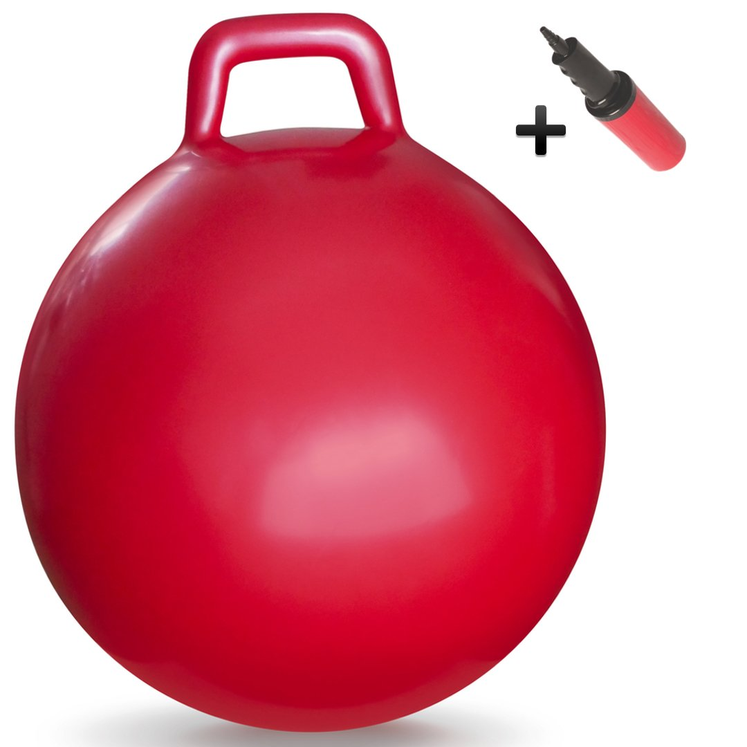 WALIKI TOYS Hopper Ball For Kids Ages 3 6 Hippity Hop Ball Hopping Ball Bouncy Ball With Handles Sit Bounce Kangaroo Bouncer Jumping Ball 18 Inches Red Pump Included