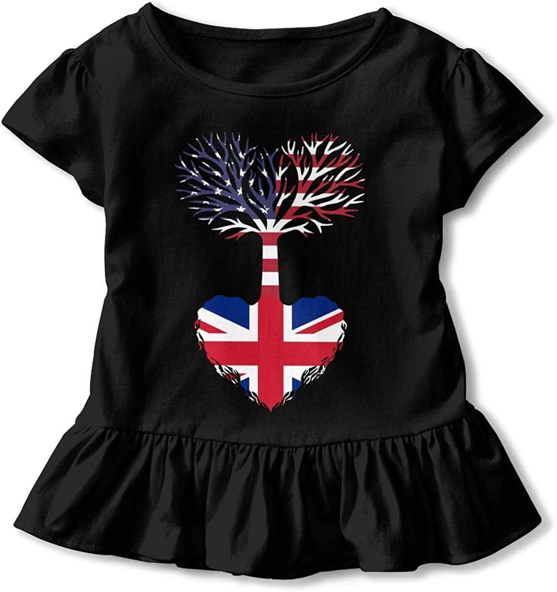 TRR8S//1 American Grown British Root Funny Ruffle Cotton Short Sleeve Graphic for Little Girls Gift