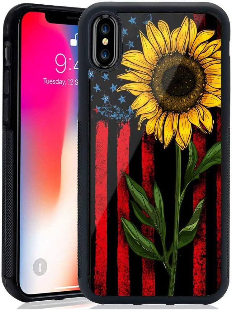 XUNQIAN iPhone XR Case, Sunflower Thin Blue Line American Flag Artistic Thin Soft Black TPU +Tempered Mirror Material Protective Case for Apple iPhone XR Cases (B-Thin Red Line)