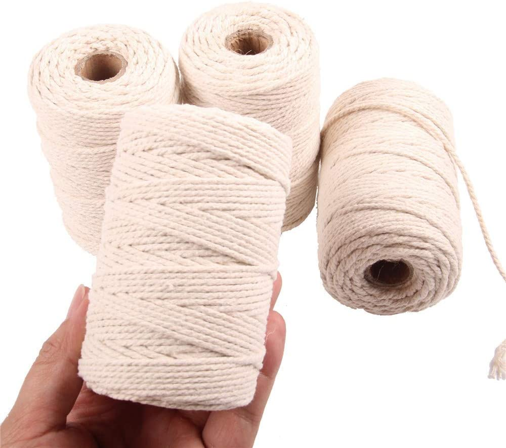 Decorative Projects Plant Hangers 200m 4mm Crafts Knitting Soft Twisted Cotton Rope Biodegradable Cord for Wall Hanging SUMMERWY Macrame Cord