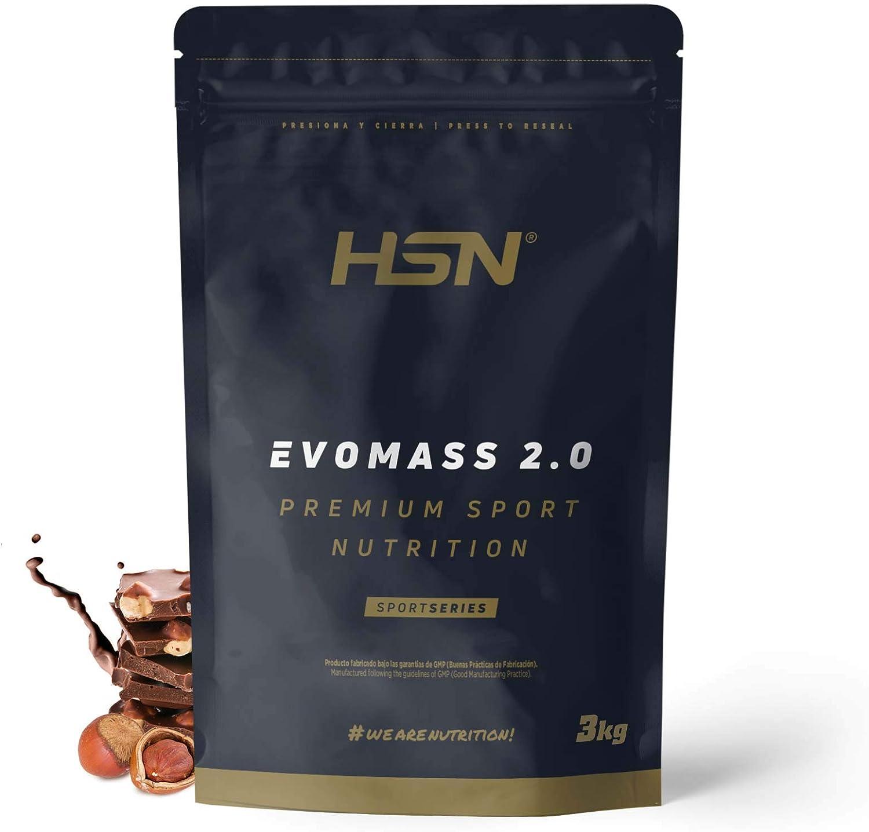 Ganador de Peso y Masa Muscular de HSN | Evomass 2.0 | Weight Gainer: Carbohidratos (Maltodextrina + Harina de Avena) + Whey Protein | Vegetariano, ...