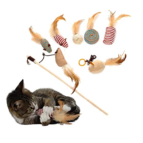 ASOCEA 7 Piezas de Juguete Interactivo de Gato de Sisal Natural con Pluma, Campana,