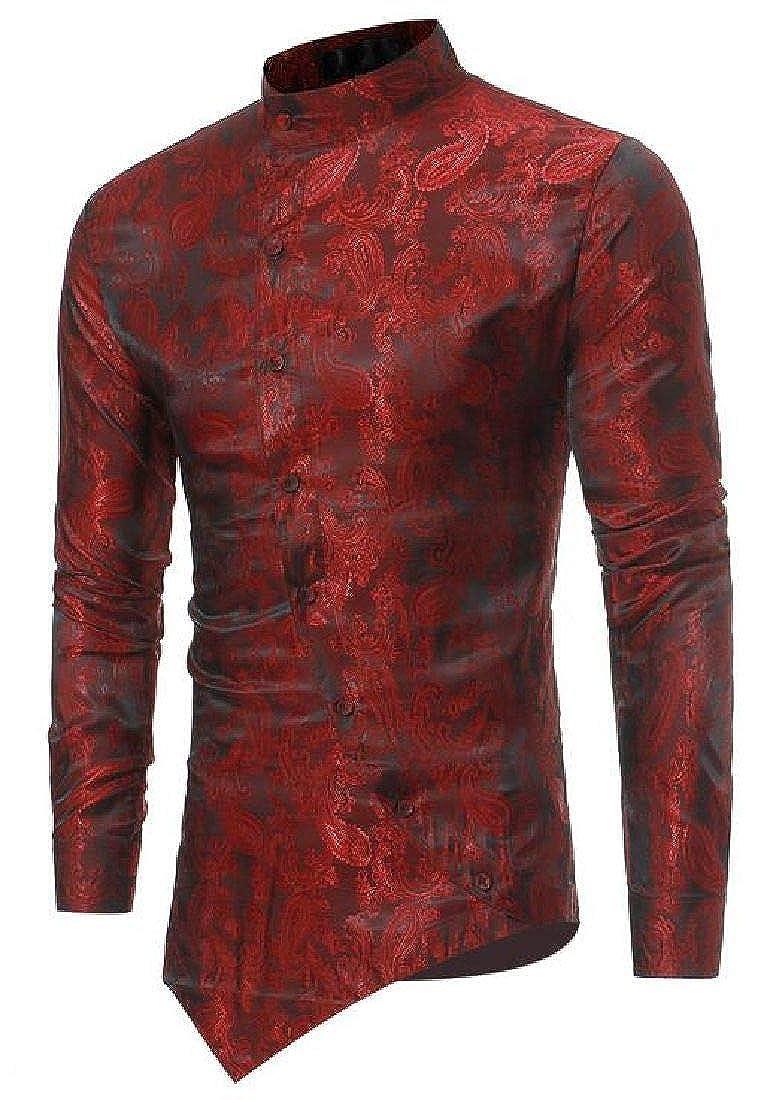 Spirio Mens Print Slim Button Up Long Sleeve Chinese Style Shirts