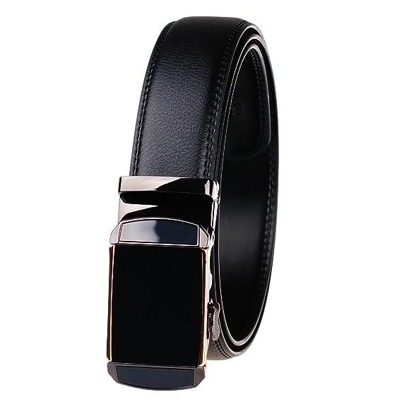 GangTu Hombre trinquete de cuero genuino de los Cinturón de negocios ocasional automático hebilla cinturón ieBTc8nD
