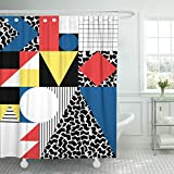 Emvency Shower Curtain Colorful Bauhaus Abstract Geometric in Retro Modern Pattern 80S Waterproof Polyester Fabric 72 x 78 inches Set with Hooks
