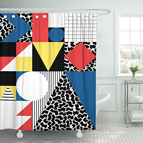 Emvency Shower Curtain Colorful Bauhaus Abstract Geometric in Retro Modern Pattern 80S Waterproof Polyester Fabric 72 x 78 inches Set with Hooks by Emvency
