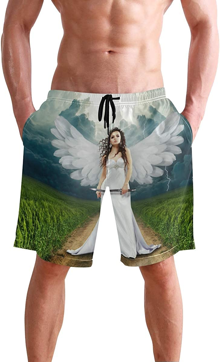 DEYYA Mens Angel Swim Trunks Beachwear Summer Holiday Beach Shorts Quick Dry