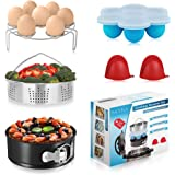 BAYKA Pressure Cooker Accessories Set Compatible with Instant Pot 5,6,8 QT, Stainless Steel Steamer Basket, Non-stick Springform Pan, Egg Bites Molds, Egg Rack, Mini Mitts
