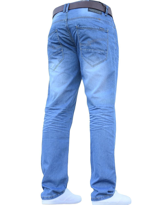 CrossHatch Herren klassisch gerades Bein Bein Bein Regular Fit Stylisch Jeans jeanbase alle Größen & Größen Gratis Gürtel B01LXRKJRO Jeanshosen Zuverlässiger Ruf 0b7f51