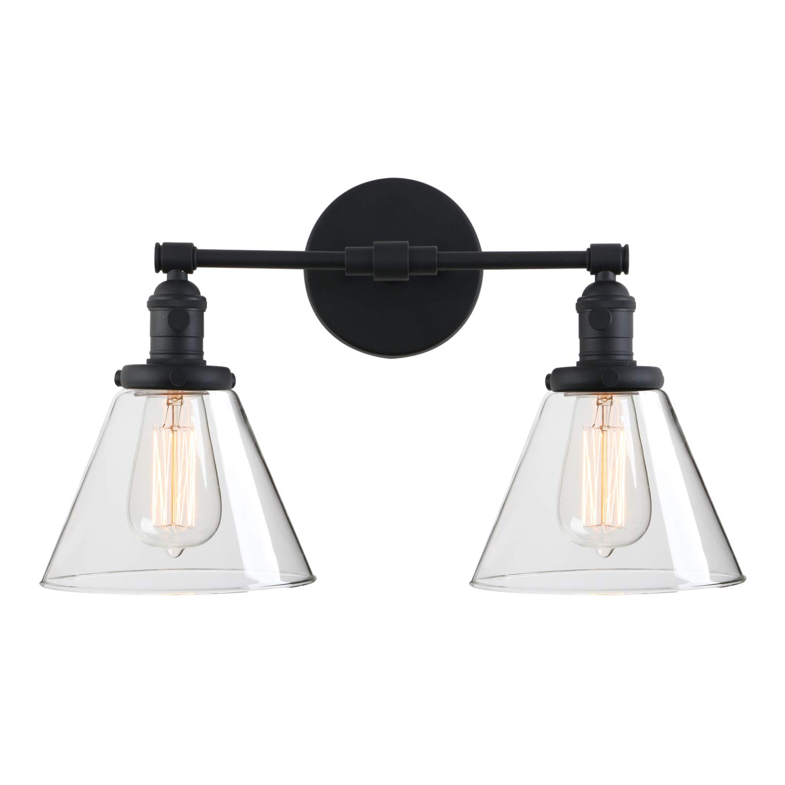 """Phansthy 2-Light Industrial Wall Light Black Wall Sconce Light Fixture with Dual 7.3"""" Cone Clear Glass Canopy(Black)"""