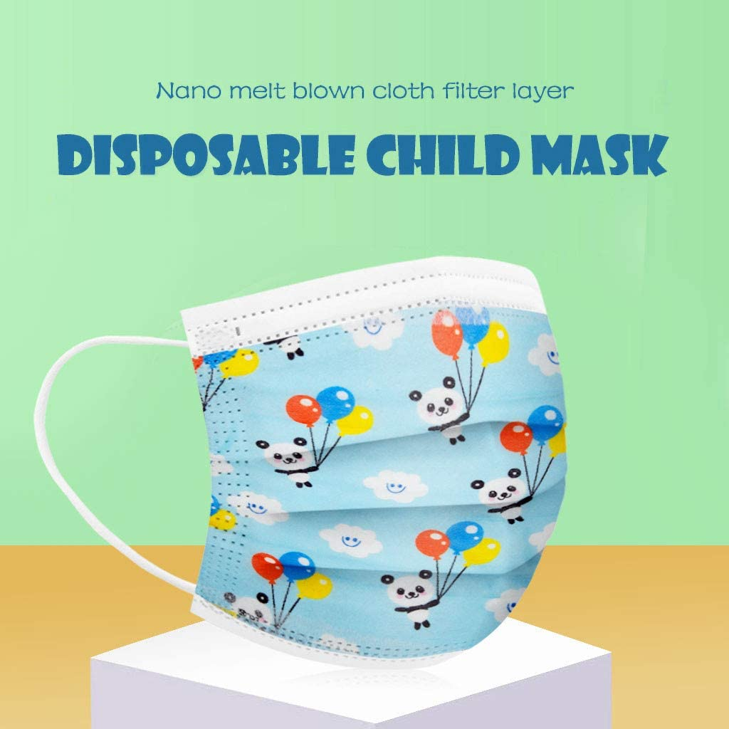 50 PC Disposable 3 Layer Face Cover Print Pattern Face Macks for Kids , Disposable Elastic Ear Loop Adjustable Ear Bands Anti Dust Unisex Mouth Covering Scarf Disposable Madks