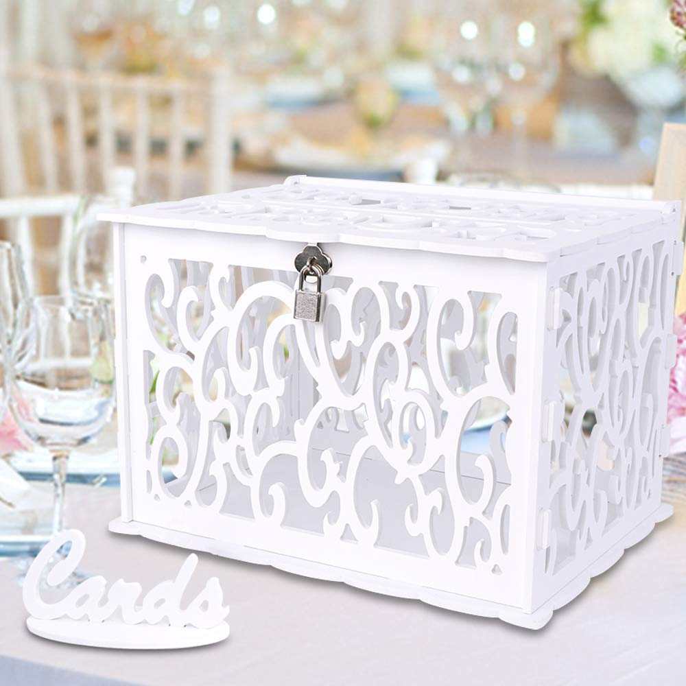 OurWarm White Wedding Card Box with Lock and Card Sign PVC Hollow Gift Card Box for Wedding Reception Birthday Baby Shower Graduation Party Decorations