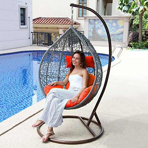 Island Gale Hanging Basket Chair Outdoor Front Porch Furn...