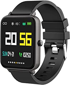 """Smart Watch for Android/Samsung/iPhone, Activity Fitness Tracker with IP68 Waterproof for Men Women & Kids, Smartwatch with 1.54"""" Full-Touch Color Screen, Heart Rate & Sleep Monitor, Gun"""