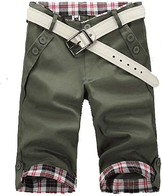 Jotebriyo Mens Elastic Waist Solid Color Straight Leg Casual Flat-Front Casual Shorts