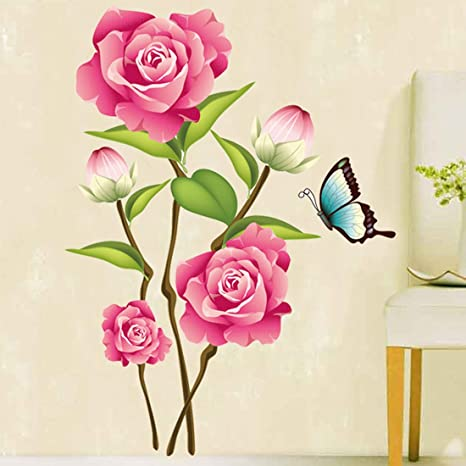 Bonitas Rosas Flores Mariposas Pared Sticker Decal Extraíble