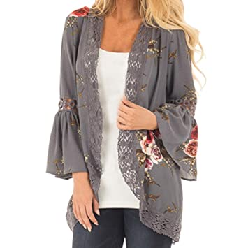 Teresamoon Womens Floral Print Sheer Lace Loose Kimono Jacket Cardigan