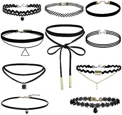 Elegant Rose choker collares elastico terciopelo Classic adhesivo de gotico, Negro,Pack de 10: Amazon.es: Joyería