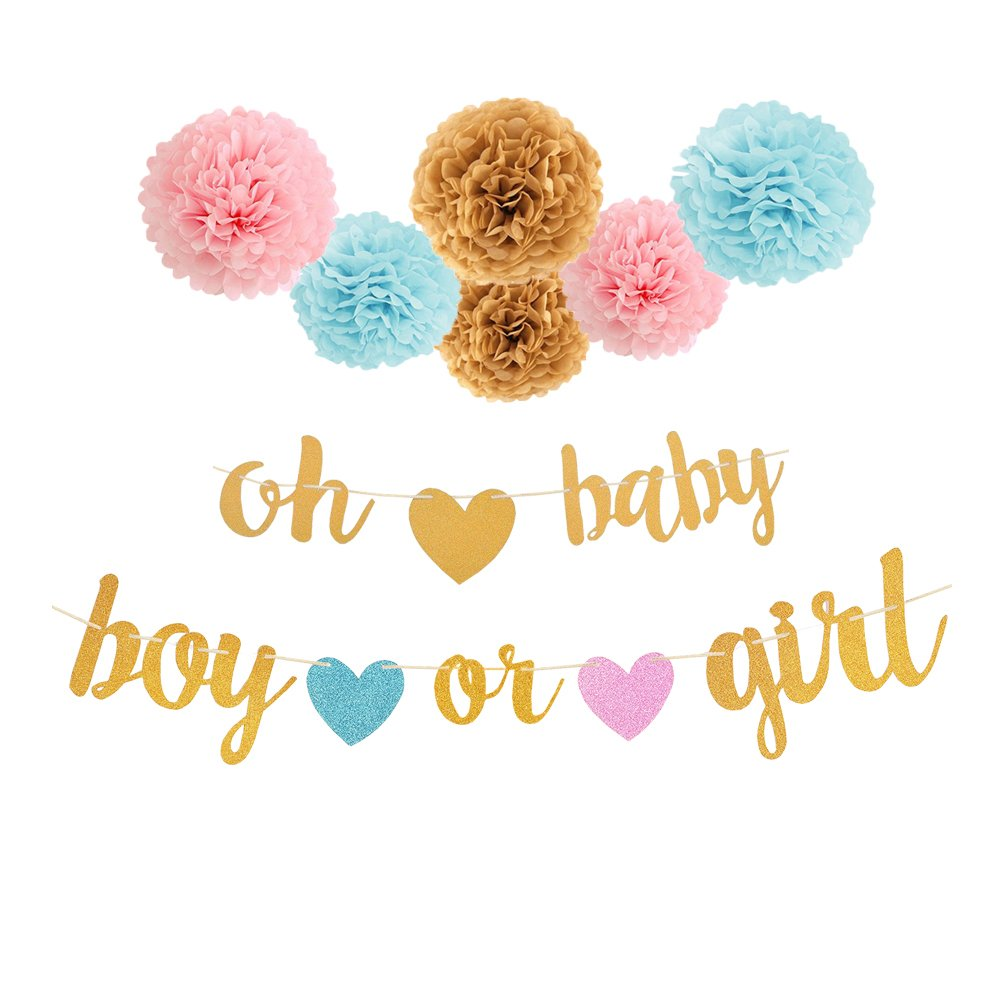 ベビーシャワーデコレーション – ベビーガールズホイルバルーン、It 's A Girlガーランドホオジロバナー、Mummy To Beサッシ、ティッシュペーパーフラワーポンポン、It 's A Girlベビーパーティーの装飾バルーン、ゴールドとピンク 6933944937979   B07D114SZ7