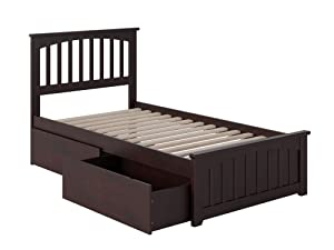 Atlantic Furniture AR8726111 Mission Platform Bed with Matching Foot Board and 2 Urban Bed Drawers, Twin, Espresso