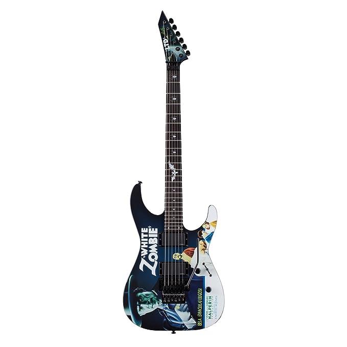 Esp ltd-khwz-wz-kit-1 Kirk Hammett firma negro con blanco Zombie gráfico guitarra eléctrica con accesorios y ESP Tombstone duro caso: Amazon.es: ...