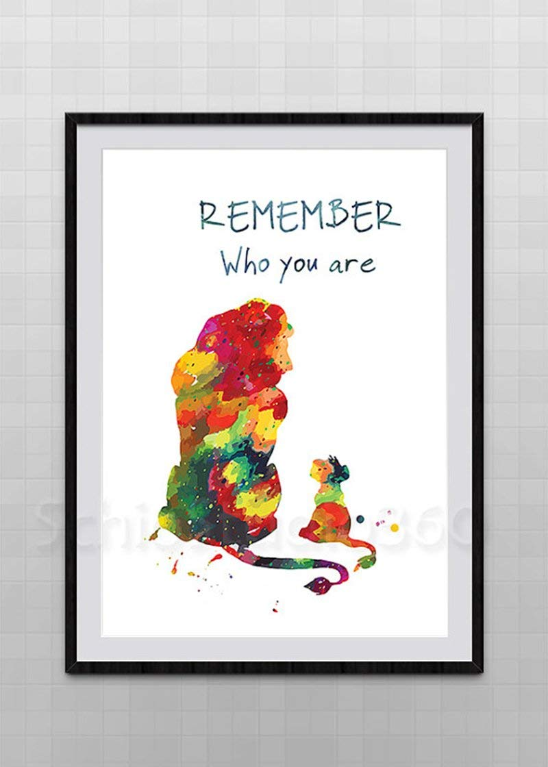 Simba And Mufasa Watercolor Art Print The Lion King Inspired Watercolor Art Print Wall Art Lion King Remember Who You Are Quote Kids Room Decor
