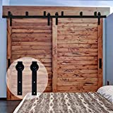 CCJH Flat Style Bypass Sliding Barn Wood Closet Door Rustic Black Hardware Track Set (9FT)
