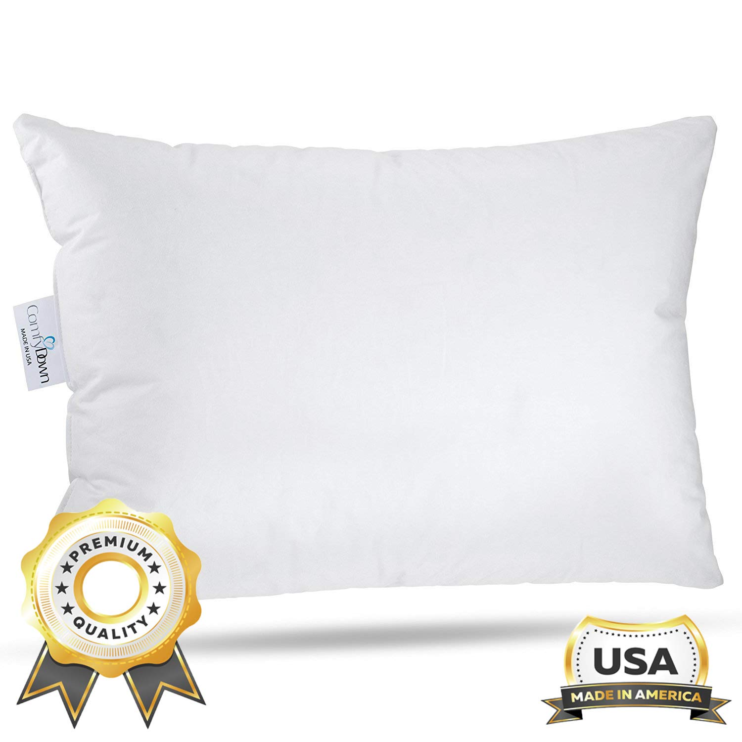 """ComfyDown Toddler Pillow - Machine Washable - 800 Fill Power Super Soft European Goose Down for Children Ages 18 Months to 6 Years - 300-Thread Count Egyptian Cotton Cover - Made in USA - 13""""x18"""""""