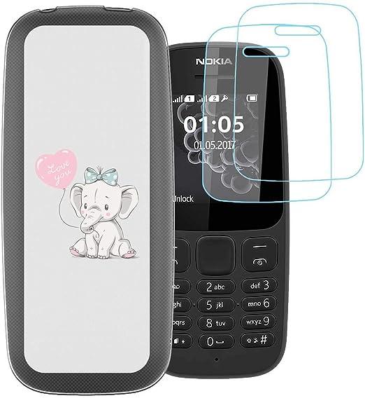 jrester Funda Nokia 105 2017,Elefante Lindo Flexible Suave {Concha ...