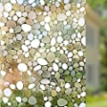 Rabbitgoo Privacy Window Film Decorative Window Film Static Cling Window Film 17.7in. By 78.7in. 3D Pebble Glass Film for Home Kitchen Bedroom by GLOBEGOU CO.,LTD