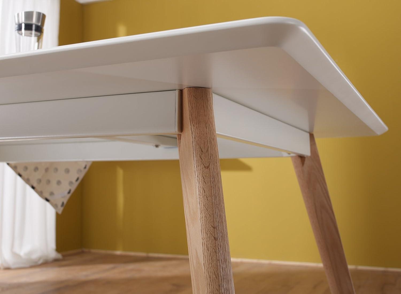 FineBuy Retro Esstisch 120 x 80 x 75 cm MDF Wei/ß Matt F/ü/ße Eiche