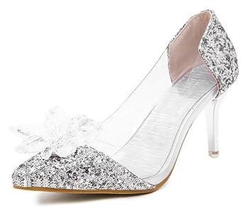 CYGG Damen High Heels Die neue spitze Kristall High Heels Cinderella Kristall Schuhe fein mit sexy Brautschuhe...