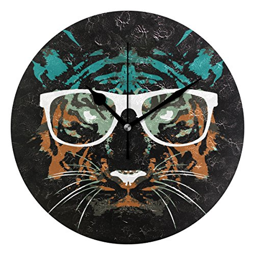 IVERS Tiger Wearing Glasses Novelty Art Decorative Round Wall Clock