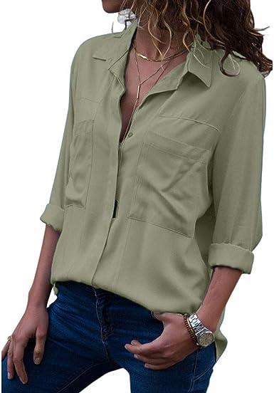 QIYUN.Z Camisa con Botones tapada en Verde Militar Camisa con Botones Blusas Verde S: Amazon.es: Ropa y accesorios