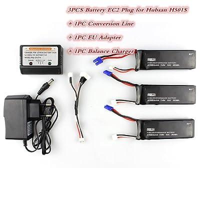 3 batteries Hubsan H501S 7.4V 2700mAh +1 point trois ligne de conversion de charge synchrone + 1 chargeur d'équilibre + 1 prise UE pour Hubsan H501S X4 (3 x batterie + 1 x ligne de conversion + 1 adaptateur xEU + 1 cha