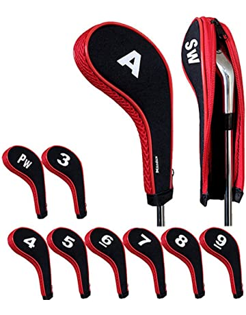 6cf5b38b043 Andux Number Print Golf Iron Head Covers with Zipper Long Neck 10pcs set 5  colors