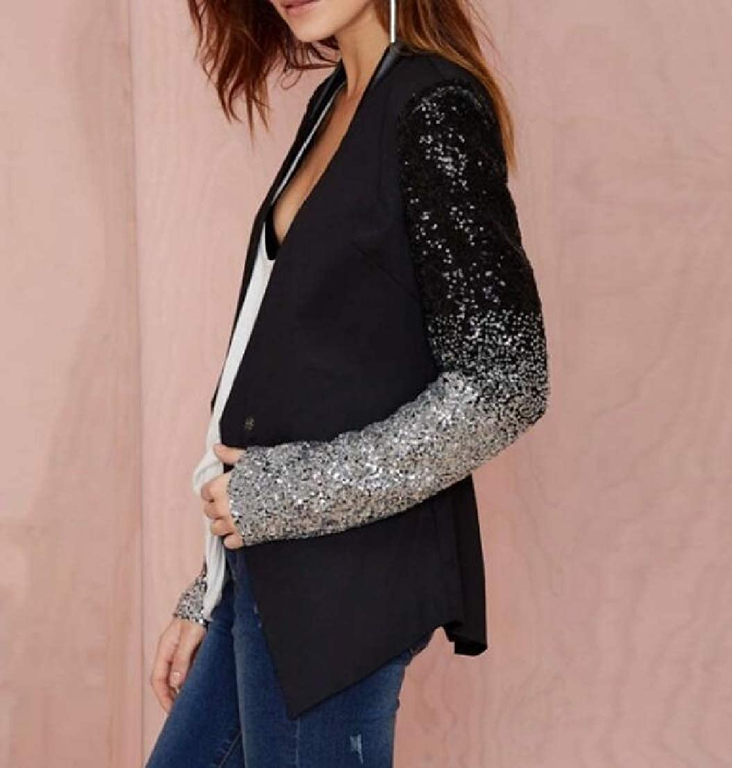 Generic Womens Glitter Sequin Slim Fit Long Sleeve Suit Blazer Jackets Black L
