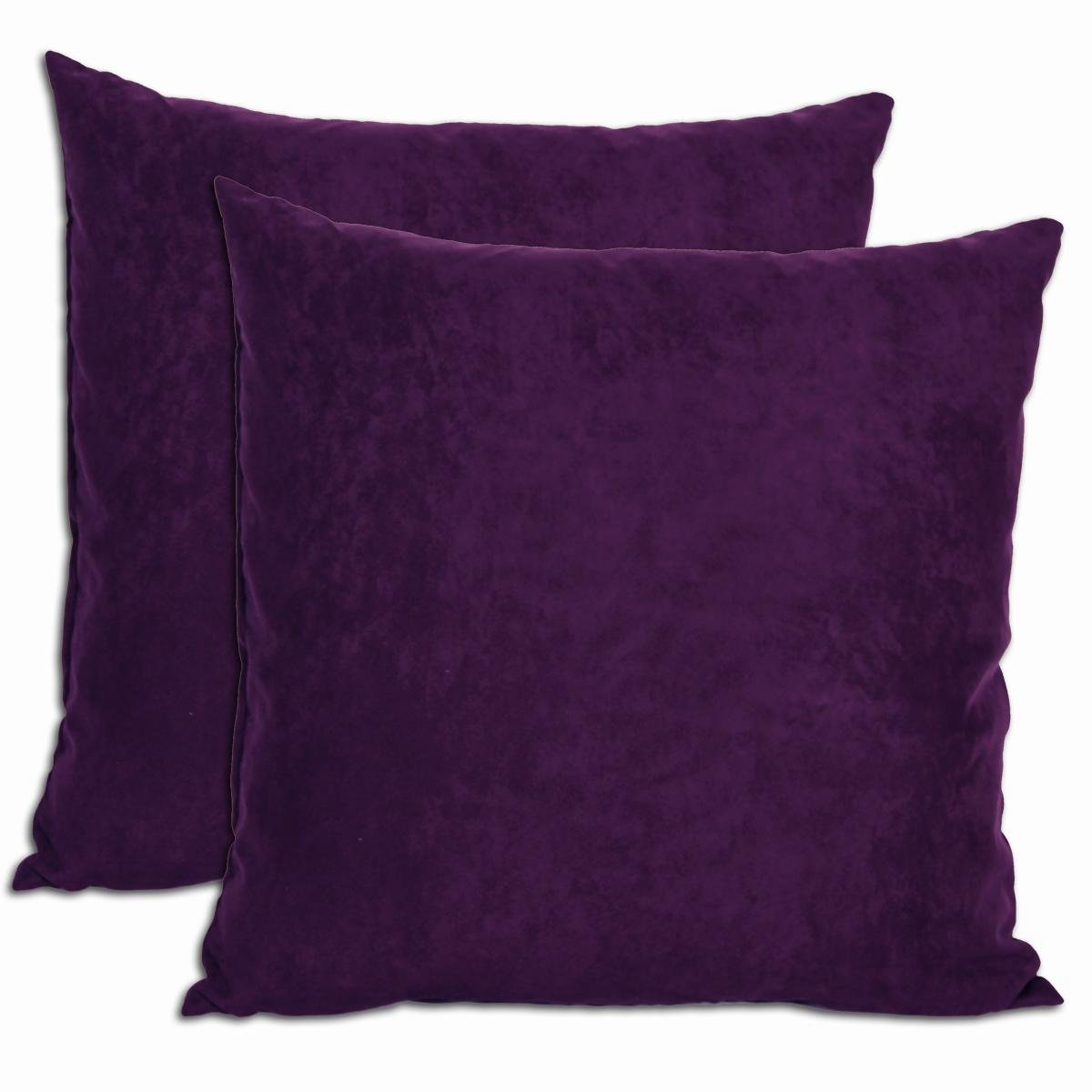 Purple Microsuede Feather and Down Filled Throw Pillows (Set of 2) by Purple Microsuede