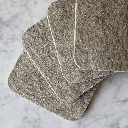 Premium Felt Drink Coasters - 100% Merino Wool from Germany - Absorbent - Soft - 19 Colors - Thick - Durable - Made in the USA - SATISFACTION GUARANTEE (Beige) (For Drinks Best The Coasters)