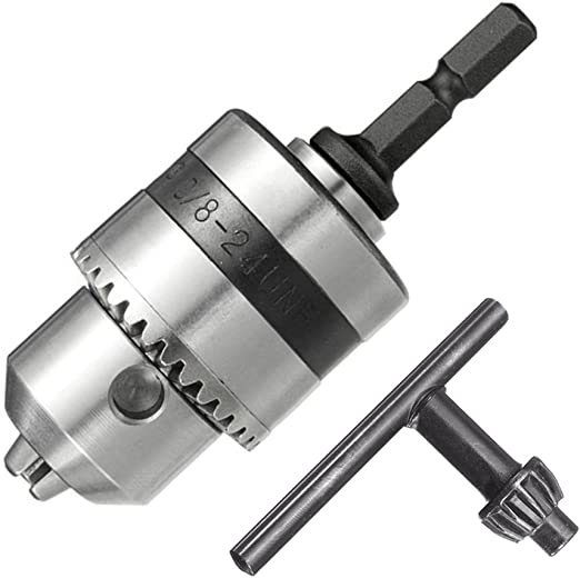 1-10mm Drill Chuck Driver Converter 3//8/'/' 24UNF with 1//4/'/' Hex Shank Key Adaptor